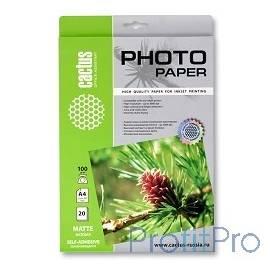 Cactus CS-MSA410020 Фотобумага Cactus A4/100г/м2/20л. матовое, самоклей. для струйной печати