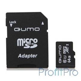 Micro SecureDigital 64Gb QUMO QM64GMICSDXC10U1 MicroSDXC Class 10 UHS-I, SD adapter