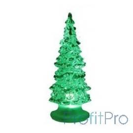 """ORIENT 342 Новогодняя """"Елка """"Волшебная"""" , прозрачный пластик с зелеными блестками, многоцветная подсветка, высота 15 см, питани"""
