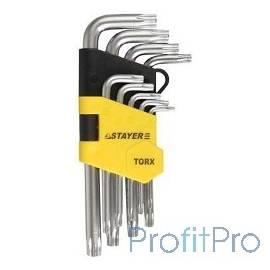 """Набор STAYER (2743-H9) Ключи """"MASTER"""" имбусовые короткие, Cr-V, сатинированное покрытие, пластик. держатель, Т2-Т10мм, 9 пред"""