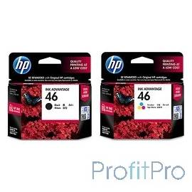 HP F6T40AE Картридж №46, 2 Black & 1 Color DJ2520/2020, (2 Black & 1 Color)