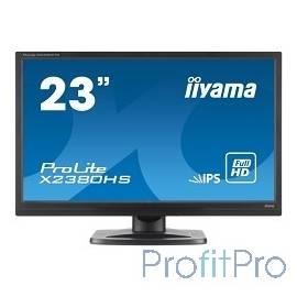 """IIYAMA 23"""" X2380HS-B1 черный IPS LED 1920x1080 5ms 16:9 250cd 178гр/178гр D-Sub DVI HDMI"""