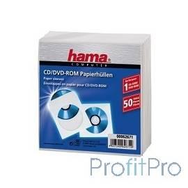 HAMA Конверты для CD/DVD бумажные с прозрачным окошком 50 шт. белый H-62671
