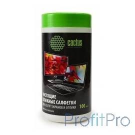 CACTUS Салфетки CS-T1001 Туба с чистящими салфетками для экранов и оптики, 100 шт