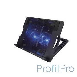 """CROWN Подставка для ноутбука CMLS-940 (Black) 15,6"""", 2*Fan,blue light,2*USB"""