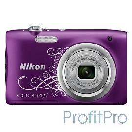 """Nikon CoolPix A100 фиолетовый/рисунок 20.1Mpix Zoom5x 2.7"""" 720p 25"""