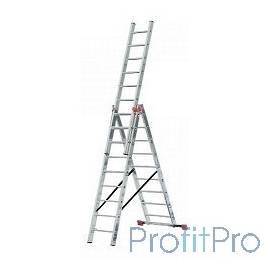 Лестница СИБИН универсальная,трехсекционная со стабилизатором, 12 ступеней [38833-12]