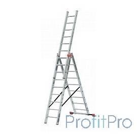 Лестница СИБИН универсальная, трехсекционная со стабилизатором, 10 ступеней [38833-10]