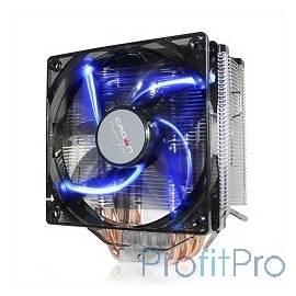 CROWN Кулер для процессора CM-5 (Для Intel и AMD,TDP до 187 Ватт,5шт. теплопроводных трубок,Синяя светодиодная подсветка,Гидрод