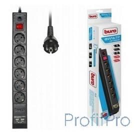 BURO Сетевой фильтр, 6 розеток, 3 метра, (BU-SP3_USB_2A-B), черный (коробка) 992313