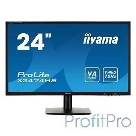 "IIYAMA 23.6"" X2474HS-B1 черный VA LED 1920x1080 4ms 16:9 250cd HDMI D-Sub DisplayPort"