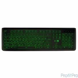 Jet.A SlimLine K20 LED Black USB Проводная слим-клавиатура, с классической раскладкой и зелёной светодиодной подсветкой, 105 кл