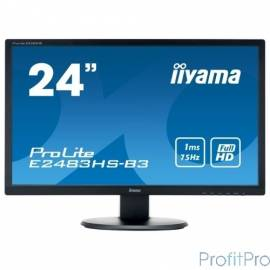 "IIYAMA 24"" E2483HS-B3 черный TN 1920х1080, 1ms 250cd/m2, H170°/V160°, 80М:1, HDMI D-Sub DisplayPort"