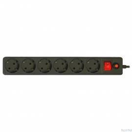 CBR Сетевой фильтр CSF 2600-3.0 6 розеток, 3.0 метра, Black PC (пакет)