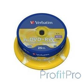Verbatim Диски DVD+RW , 4.7Gb 4-х , 25шт, Cake Box (43489)