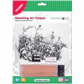 """Набор для рисования скетча Greenwich Line """"Полевые цветы"""", A4, карандаши, ластик, точилка, картон"""