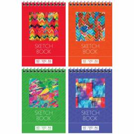 "Скетчбук-блокнот для эскизов и зарисовок 60л. А6 на гребне ArtSpace ""Яркие краски"", 120г/м2"