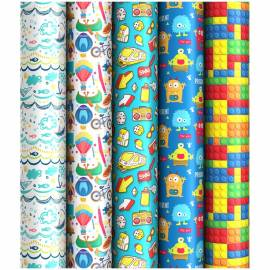 """Упаковочная бумага глянц. 70*100см, ArtSpace """"Для мальчиков"""", 1 лист, 80г/м2, ассорти 5 дизайнов"""