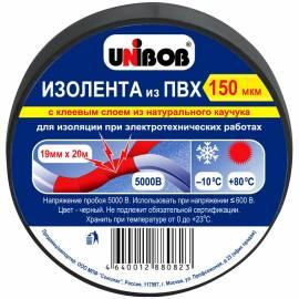 Изолента Unibob 19мм*20м, 150мкм, черная, инд. упаковка