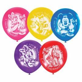 """Воздушные шары, 5шт., М12/30см, Поиск """"Дисней С Днем Рождения"""", пастель+декоратор, Х-33, европодвес"""
