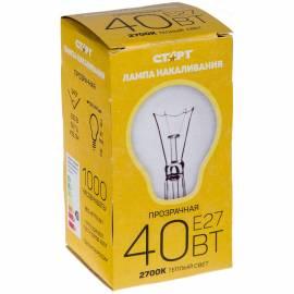 Лампа накаливания Старт Б 40W, E27, прозрачная