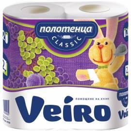 """Полотенца бумажные в рулонах Veiro """"Classic"""", 2-х слойн., 12,5м/рул, тиснение, белые, 2шт."""