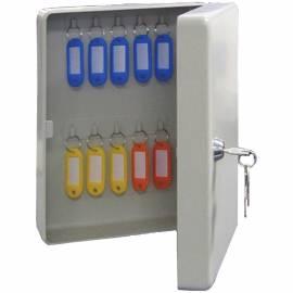 Ключница Промет KB-20 на 20 ключей, 250*180*80, ключевой замок, металл, серый, с брелоками