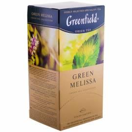"""Чай Greenfield """"Green Melissa"""", зеленый с мелиссой, 25 фольг. пакетиков по 1,5г"""