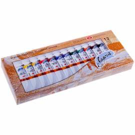 Краски масляные Ладога, 12 цветов, 18мл/туба, картон
