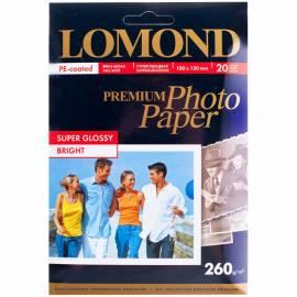 Бумага A6 (100*150) для стр. принтеров Lomond, 260г/м2 (20л) супергл.