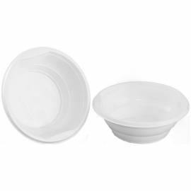 Тарелки одноразовые суповые Стиролпласт, стандарт, ПП, белые, 0,5л, 15см, уп. 50шт.