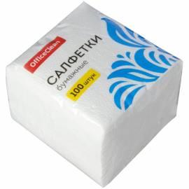 Салфетки бумажные OfficeClean, 1 слойн., 24*24см, белые, 100шт.