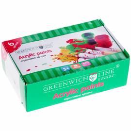 Краски акриловые Greenwich Line, 06 цветов, 20мл, картон