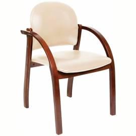 Конференц-кресло Chairman 659 WD,экокожа бежевая матовая/темный орех