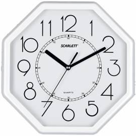 Часы настенные ход плавный, офисные Scarlett SC-16D, восьмигранные, 26,1*26,1*4.2, бел/черн. рамка