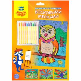 """Раскраска по номерам Мульти-Пульти """"Птицы"""" А4, с восковыми мелками, 4 рисунка, картон, европодвес"""