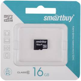 Карта памяти SmartBuy MicroSDHC 16GB, Class 10, скорость чтения 10Мб/сек