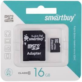 Карта памяти SmartBuy MicroSDHC 16GB, Class 10, скорость чтения 10Мб/сек (c адаптером SD)