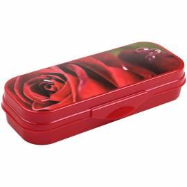 """Пенал-футляр 210*90*40 Стамм """"Роза"""", пластик, красный"""