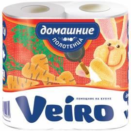 """Полотенца бумажные в рулонах Veiro """"Домашние"""", 2-х слойн., 12,5м/рул, тиснение, белые, 2шт."""