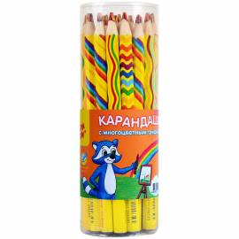 """Карандаш Мульти-Пульти """"Енот и радуга"""" с многоцветным грифелем, утолщенный, заточен."""