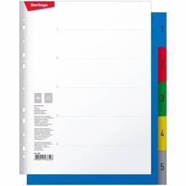 """Разделитель листов Berlingo """"1-5 цифры, цветной """", А4+, пластиковый"""