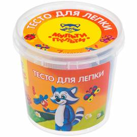 "Тесто для лепки Мульти-Пульти ""Енот в деревне"", 07 цветов*30г, пластиковый стакан"